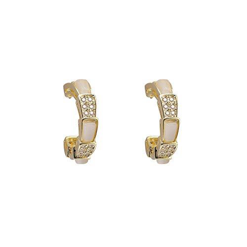 jiao Pendientes de aro pequeños Bonitos de ópalo de Color Dorado, delicados Pendientes de aro de Cristal de Piedra Lunar a la Moda para Mujer, joyería de Fiesta