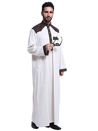 HANYIMIDOO Men's Long Sleeves Stand Collar Robe Arab Islamic Muslim Dubai Thobe Costume (XX-Large, Beige)