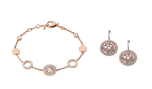 Fossil Women's Pearl Disk Station Bracelet+Fossil Women's Disc Drop Earrings JF01737791