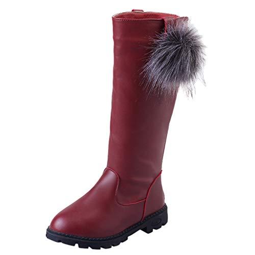 HDUFGJ Mädchen Stiefel Plus Samt Warm halten Schneestiefel Lederstiefel Chelsea Boots Boots kurz Outdoor Winterstiefel Stiefeletten Springerstiefel Keilstiefel Langschaft 32 EU(Wein)