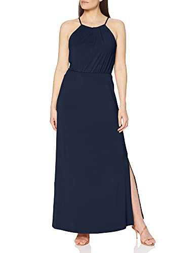 VILA CLOTHES Damen Vitaini S/L Maxi Dress/Dc Kleid Blau (Navy Blazer), Large (Herstellergröße: L)