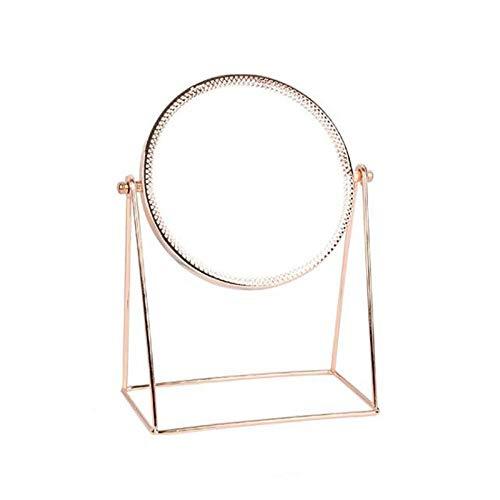 AJIHFD Miroir décoratif de Table Rotatif à 360 degrés Miroir de Maquillage Simple Face Doré