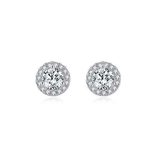 Silver Stud Earrings for Women Girls|925 Sterling Silver Stud Earrings|Cubic Zirconia Stud Earrings|14K White Gold Plated Small Hypoallergenic Sleepers Earrings(6mm)