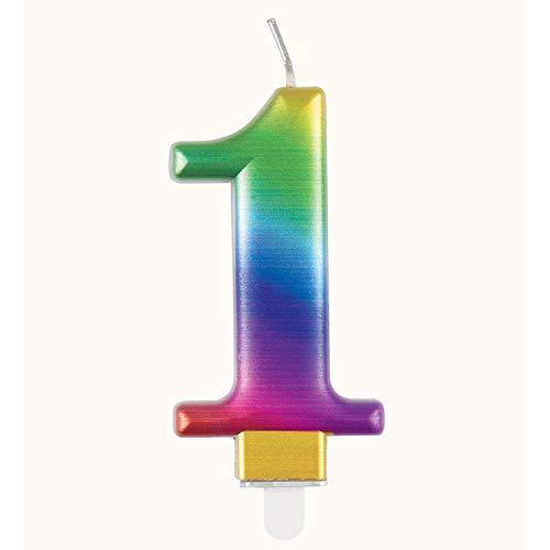 Unique 19631 Birthday Candle Number 1-3.54' | Rainbow | Metallic | 1 Pc