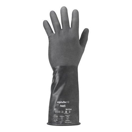 Ansell ChemTEK 38–514/9Viton/Butyl-Handschuh, der Schutz vor Chemikalien und Liquid, Größe 9(1Paar) schwarz Tasche