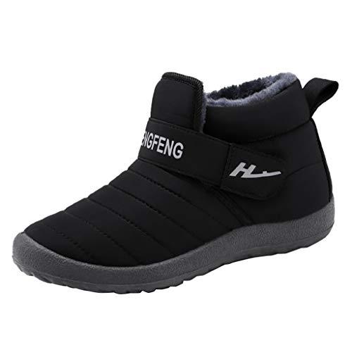 Yowablo Schlupfstiefel Damen Stiefeletten Worker Boots Übergrößen Warm Gefüttert Plus Dicke wasserdichte warme Kurze Stiefel aus Samt (40 EU,Damen-Schwarz)