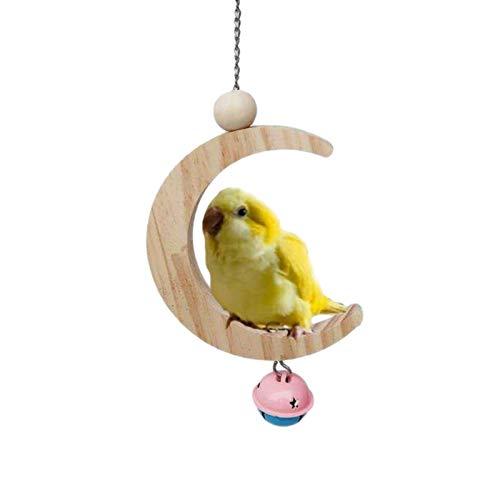 Juguete molar de madera con campanas para pájaros loro gris africano guacamayo en forma de luna columpio pincho colgante molar mordiendo cuerdas de madera jaula decoración loro suministros