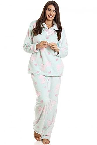 Camille Conjuntos de Pijama de Felpa Suave de Cuerpo Entero de Manga Larga para Mujer 46-48 Green