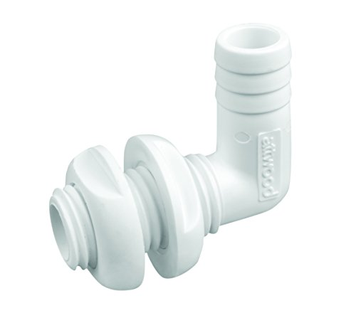 attwood 3877-3 Thru-Hull Connector 90 Degree White