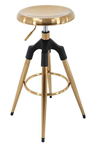 Brage Livng Four-Legged Adjustable Height Barstool (Gold)