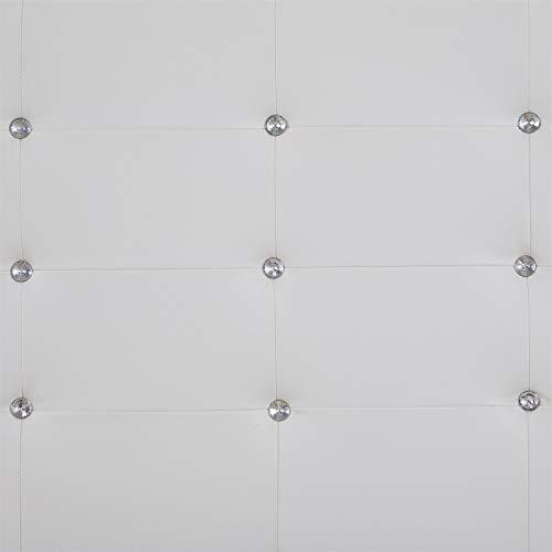 IDIMEX Lit Double pour Adulte Josy Couchage 140 x 190 cm avec sommier 2 Places / 2 Personnes, tête et Pied de lit capitonnés avec Strass, revêtement synthétique Blanc
