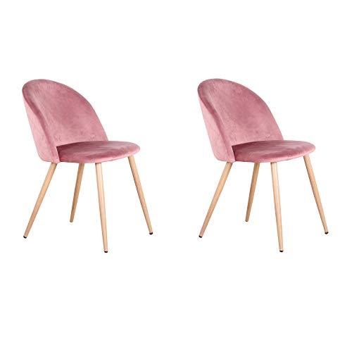 Uderkiny 2/4/6er Set Stuhl mit Ruckenlehne Samtstuhl Esszimmerstuhl, Geeignet fur Kuche Wohnzimmer Esszimmer Schlafzimmer usw (Pink-2)