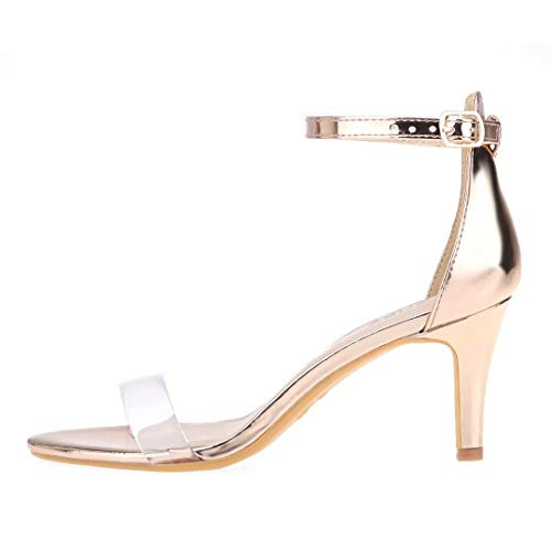 ZriEy Women's Heeled Sandals 3 Inches Strappy Rose Gold Clear Open Toe Stiletto High Heels Mid Heels Ankle Strap Fashion Bridal Party Wedding Pump Shoes Size 9