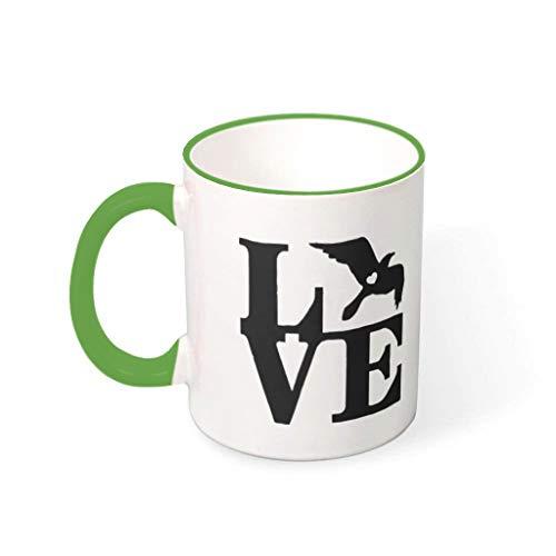 STELULI Taza de café con diseño de pájaro, de cerámica, para mascotas, 330 ml, color verde