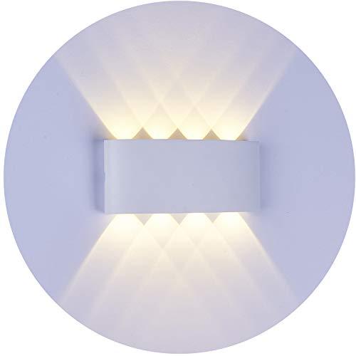 Topmo-plus Apliques de Pared Moderna Lámpara de Pared Exterior IP65 Impermeable Lámpara en Moda Agradable Luz de Ambiente Porche, Patio, Jardín blanco (8W Blanco cálido)