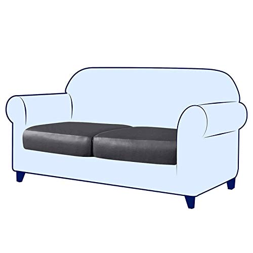 Funda de cojín elástica, de Piel sintética elástica funda de cojín para silla protector de muebles funda de sofá con parte inferior elástica para reemplazo en Sala de Estar-Gris oscuro-2-Asiento