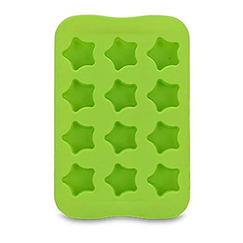 LCZMQRCLMZRQ 12 sleuf siliconen chocoladegelei bakje ster/hart/ronde/vierkante vorm DIY puddingmaker schimmel bevriezen ijsblokjesplaat, een