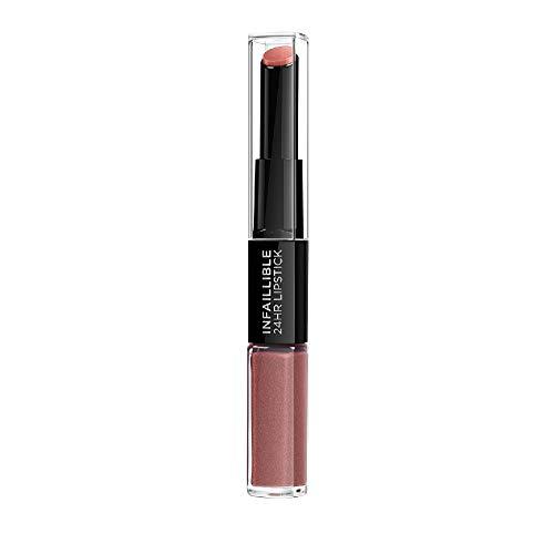 L'Oréal Paris 2in1 Lippenstift und Lippenpflege-Balsam für volle Lippen, 24h Halt, Infaillible 2-Step, Nr. 312 Incessant Russ, 1 x 5,6 ml