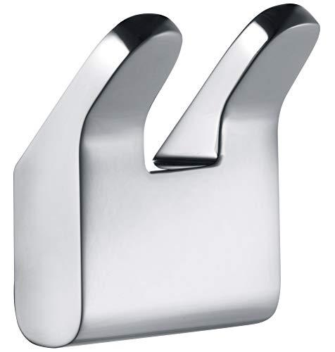 KEUCO Handtuchhaken doppelt aus Metall, hochglanz-verchromt, eckig, für Badezimmer, mit zwei Haken für Handtücher und Bademäntel, Wandhaken, Moll