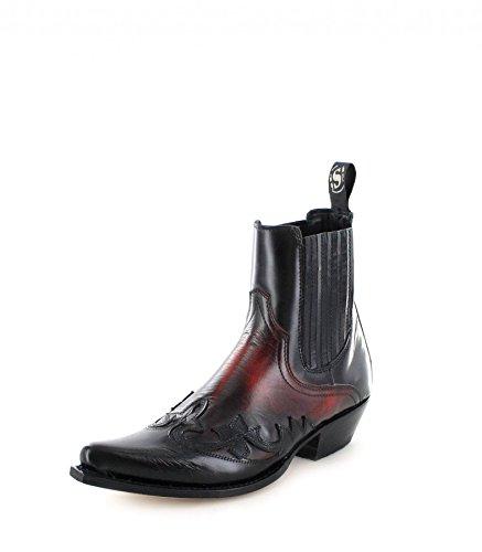 Sendra Boots 9396 kvinnor och män klassiska västerländska stövletter cowboystövletter, flerfärgad - Negro Rojo - 42 EU