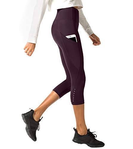 LAPASA Donna 3/4 Capri Leggings Sportivi Con Tasche Laterali Pantaloni Fitness Per Yoga Allenamento Palestra L33 (X-small, 03.Bordeaux super opaco(Tasche laterali))
