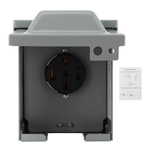 Yctze Caja de toma de corriente 50Amp 125V / 250V caja de toma de corriente impermeable enchufe eléctrico a prueba de lluvia para autocaravana RV coche eléctrico
