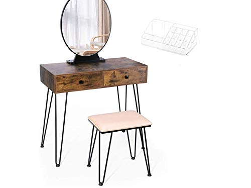 TWING Vanity Table Set,Vanity Set with LED Light Makeup Dressing Table Touch Screen Dimming Mirror...