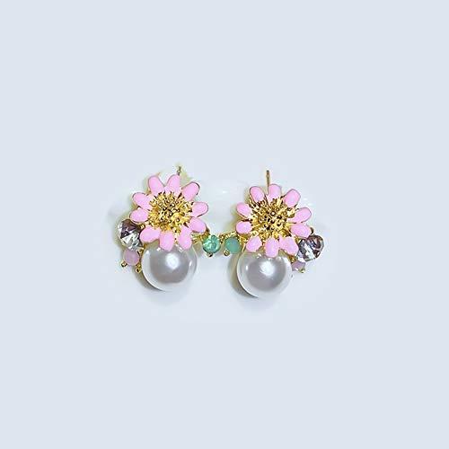 XIANRUI eenvoudige manier zilveren naald-bloemen-oorbellen temperament diamant beschilderde oorbellen oorbellen