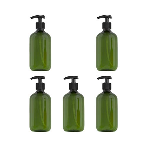 Beaupretty 5Pcs 300Ml Shampoo Pumpflasche Plastik Bernsteinflaschen Pump Lotion Spender Leere Flasche mit Pumpdeckel (Dunkelgrün)