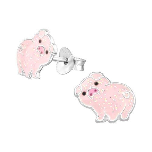Laimons Pendientes infantiles para niña, cerdo, animal, amuleto de la suerte, rosa brillante, 10 mm, plata de ley 925