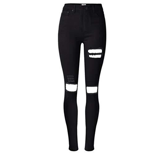 XinXinFeiEr Estiramiento Agujero Mendigo Delgado Lavó Jeans Negro Casual (Color : Black, Size : 32)