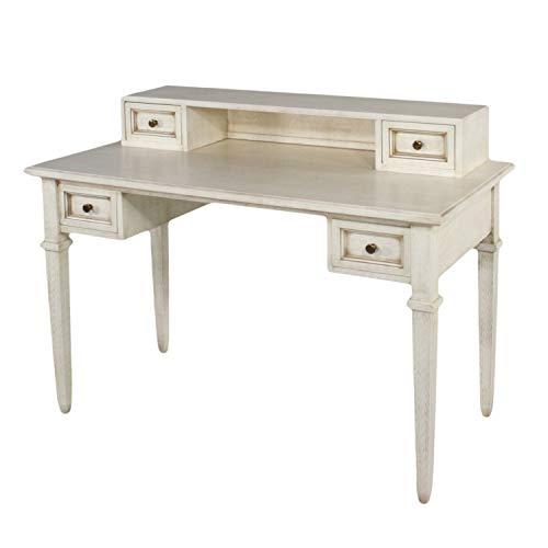 casamia Schreibtisch Bürotisch Heimarbeitsplatz mit Aufsatz 4 Schubkästen Pinie massiv Farbe alpaka