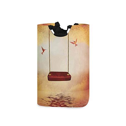 BEITUOLA Laundry Basket,Hummingbirds Decor Red Hammock And Peaceful Lake Fantasy Fairytale Scene Decorative,Portable Washing Basket,Laundry Hamper with Handle,Storage Laundry Bin,Collapsible