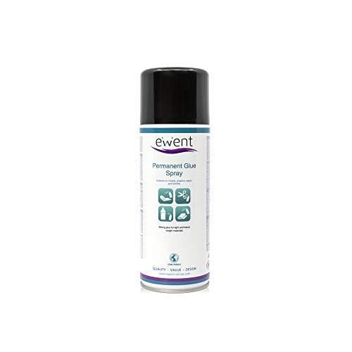 Ewent EW5626 - Spray de pegamento permanente 400ml - Pegamento fuerte para materiales ligeros y pesados: metales, plásticos, papel, corchos, cartón, poliestireno expandido, telas, espumas