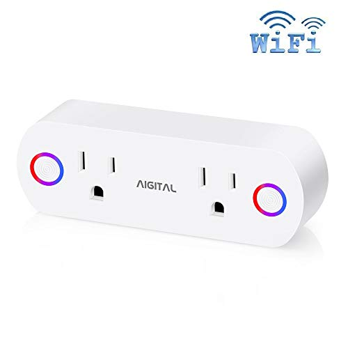 WiFi Smart Plug Wireless Socket Work with Alexa Google Assistant IFTTT, Aigital Wi-Fi Dual Smart Outlets No Hub Required, Remote Control Timing Switch and Energy Monitor (Max 16A) 【 New Coming 】