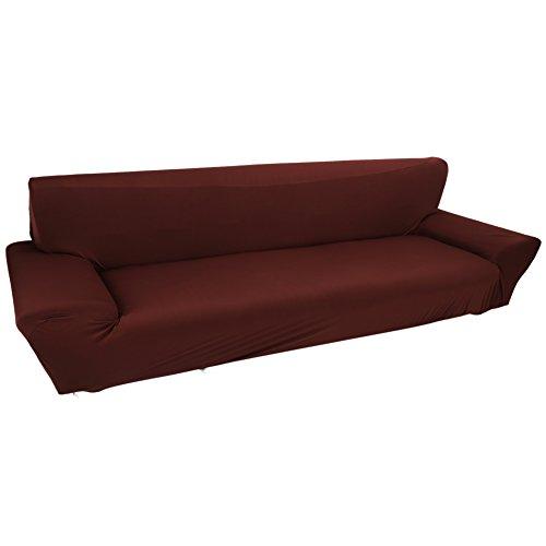 Fundas de sofá de 4 plazas 7 Colores sólidos Funda de Estiramiento Completo Tela elástica Soft Couch Cover Sofa Protector Muebles de casa (Color : Marrón)