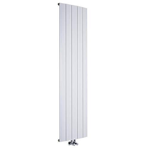 Hudson Reed Radiador Aurora de Diseño Vertical - Radiador de Aluminio con Acabado Blanco -1729W - 1800 x 470mm - Calefacción Moderna