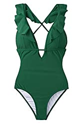 Solid color with plunging neckline Ruffled hem at straps, High leg cut,Tie at back with Lining With padding cups Suit size: the size measured by tiling the clothes without any elastic stretch. Body size: the size of a human body.Bra size (XS: 30C/30D...