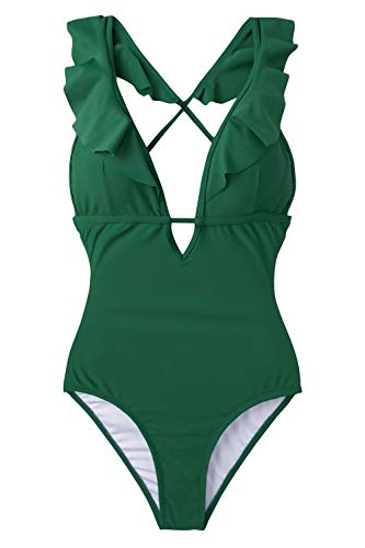 CUPSHE Women's One Piece Swimsuit Ruffle Deep V Neck Strappy Swimwear Bathing Suits Green S