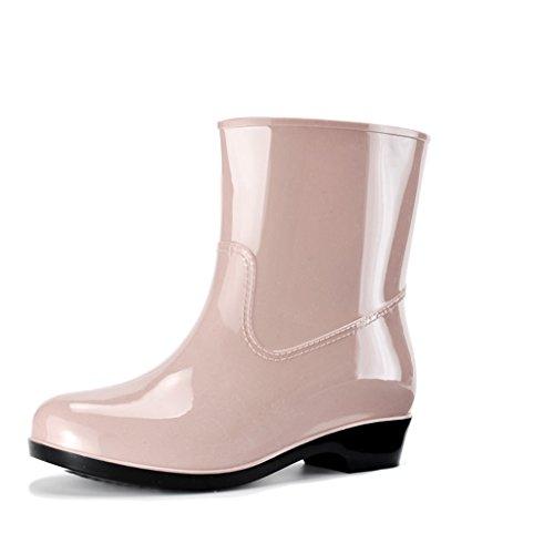 Stiefel Industrie & Handwerk Regenstiefel Kurze Röhre Erwachsene Mode Sommer PVC Höhe 6 Zoll (Color : Khaki, Size : 38)
