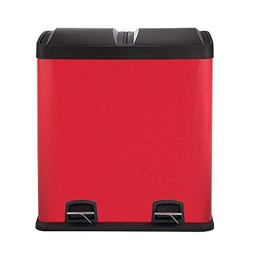 ZYLZL 60L Rojo Grande el Bote de Basura (30L) Separa Los Desechos Y Es Fácil de Reciclar Papelera de Reciclaje Doble Papelera Doble de Cocina de Múltiples Fines/rojo / 60l