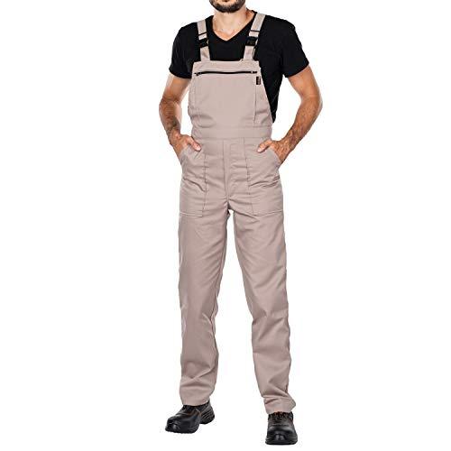 Arbeitshosen, Latzhose Herren, Größen S-XXXL, Arbeitshose Herren Made in EU, Latzhosen, Arbeit Hose, Blaumann, Arbeitskleidung (Beige, M)