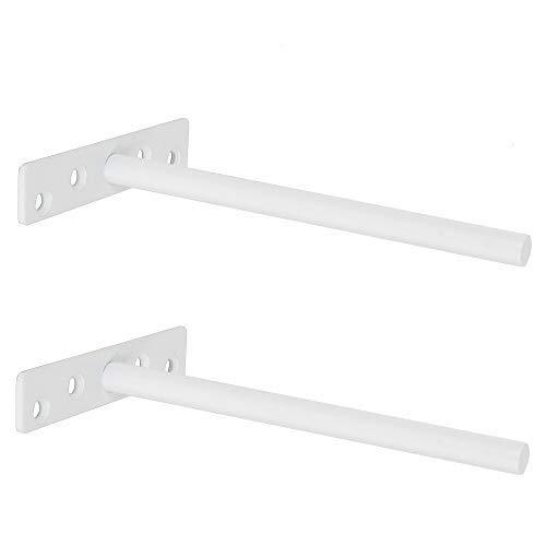 Sayayo Soporte de estante flotante, invisible, oculto, resistente, soporte de estante para estantes de madera ocultos montado en la pared, acero inoxidable acabado blanco mate, 2 piezas, EJY8006W-2P