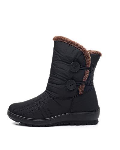 Stivali da Neve Impermeabili Invernali da Donna Leggeri Antiscivolo da Donna in Cotone Scarpe Stivaletti Calzature Nero 38 EU