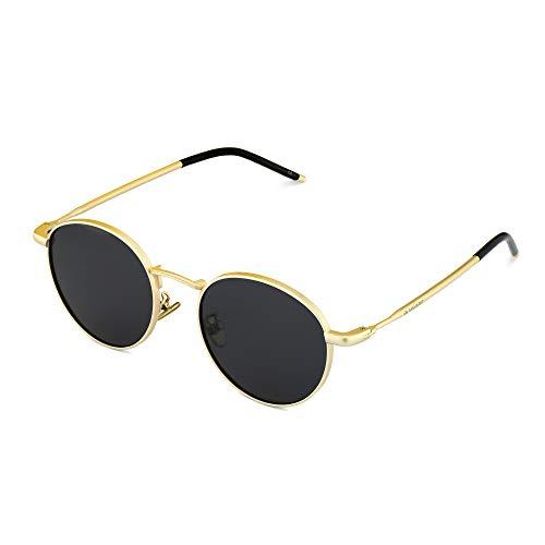 Navaris Gafas de sol redondeadas polarizadas - Sunglasses redondas estilo retro para hombre y mujer - Con protección UV y funda - Negro y dorado