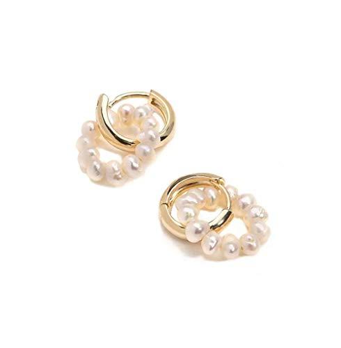 MXHJD Pendientes de aro de perlas de agua dulce auténticas de doble círculo Pendientes de aro de perlas pequeñas en capas Pendientes delicados y bonitos para mujer