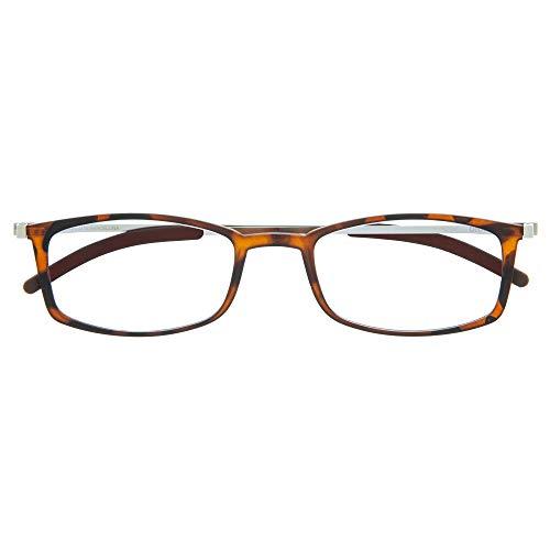 DIDINSKY Gafas de Lectura Graduadas Ultra Delgadas para Hombre y Mujer. Gafas de Presbicia muy Ligeras con Lentes con Protección Luz Azul. Havana +1.0 - MACBA SQUARE