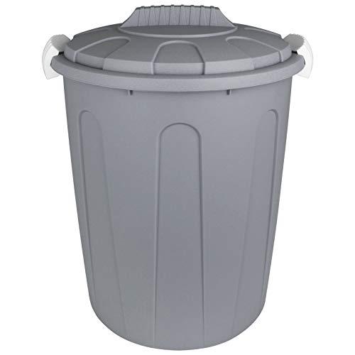 TW24 Maxitonne mit Deckel 23L mit Farbwahl Pastell Farben Windeleimer Abfalleimer Kunststoff Mülltonne Abfalltonne Mülleimer Müllsammler (Grau)