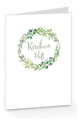 10 x KIRCHENHEFT zur kirchlichen Trauung Hochzeit KRANZ ZWEIGE GRÜN INNENSEITEN UNBEDRUCKT - Format: 215 x 150 mm DESIGN fioniony®