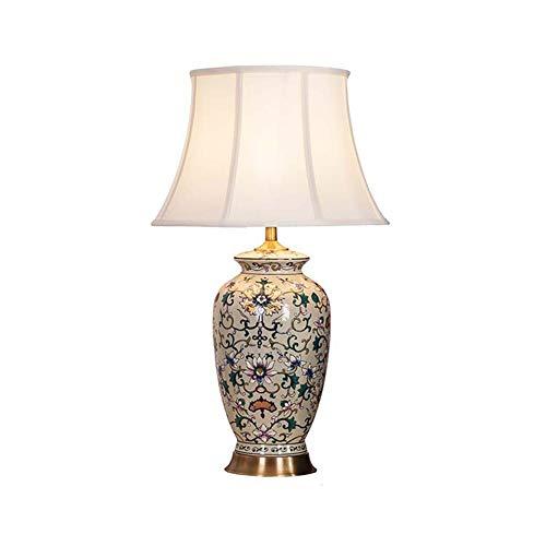 Viqie Keramik Retro Porzellan chinesische Tischlampe Schlafzimmer Nachttischlampe Wohnzimmer Study Kupfer Schreibtischlampe (Color : D)